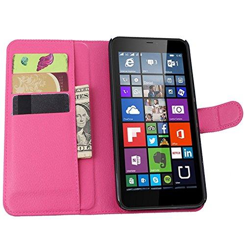 Tasche für Nokia Microsoft Lumia 640 XL Dual-SIM Hülle, Ycloud PU Ledertasche Flip Cover Wallet Case Handyhülle mit Stand Function Credit Card Slots Bookstyle Purse Design Rose Red