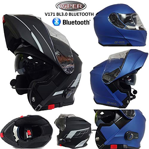 Motorrad Bluetooth KlappHelme VIPER V171 BL3.0 MotorradHelm Flip Up Modularhelm (Matt Blau, M)