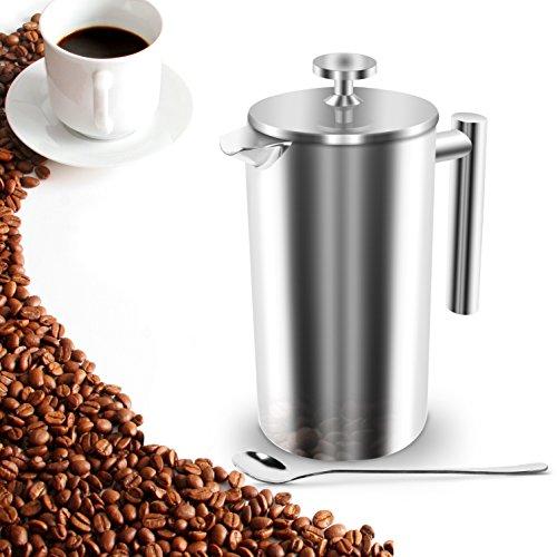 French Press Kaffee Tee Kaffeebereiter 1L Kaffeekanne mit Löffel Kaffeepresse Thermo aus Edelstahl Doppelwandig Stainless Design für Camping von Konomio