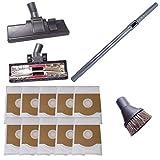 Staubsaugerrohr 35mm, Hartbodendüsen & Saugpinsel inkl. 10 Staubsaugerbeutel passend für Miele Parkett S 381