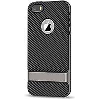 JETech Funda para iPhone SE iPhone 5S iPhone 5, Carcasa con Fibra de Carbono, Anti-choques, Gris