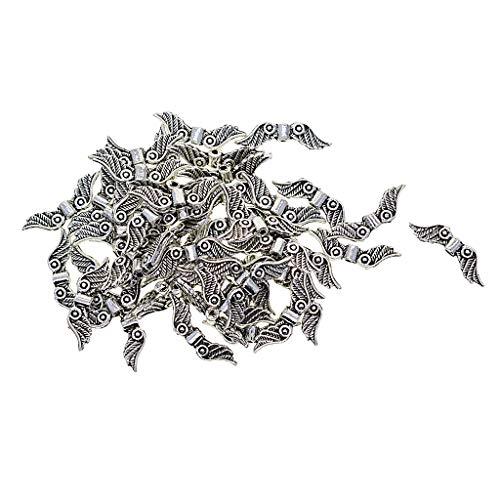 Baoblaze 100 pcs Engel Flügel Spacer Perlen Beads Zwischenperlen Bastelperlen für Halskette Armband Kinder DIY Handwerk (Diy Engel Flügel)