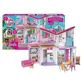 Barbie – Casa di Malibu, Playset Richiudibile su Due Piani con Accessori, 61 cm, Giocattolo pe