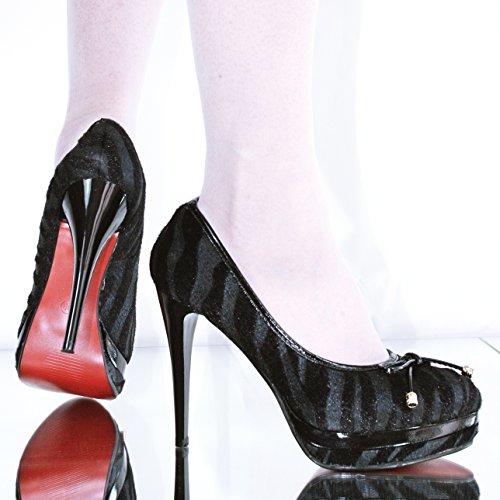 Damen Plateau High Heels Zebra Style 10199 Schwarz