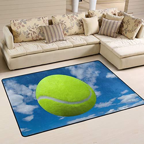 XiangHeFu Fußmatte, personalisierbar, für Sport, Tennisball, Himmel, Wolke, 91,4 x 61 cm, weich für Wohnzimmer, Schlafzimmer, Küche, Dekoration, Gesponnenes Polyester, Image 1044, 72x48 Inches -