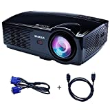 Vidéoprojecteur Full HD, Vidéo Projecteur LED 3200 Lumens Retroprojecteur Full HD Portable WiMius T4 Projector LCD Home Cinema Soutien Video Full HD 1080P 2*HDMI 2*USB VGA AV Noir
