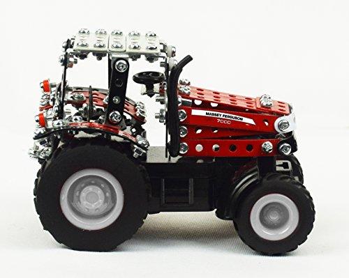 RC Auto kaufen Traktor Bild 3: Tronico 09541 - Metallbaukasten Traktor Massey Ferguson MF-7600 mit Kippanhänger und Fernsteuerung, Maßstab 1:64, Micro Serie, rot, 427 Teile*