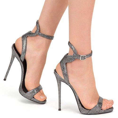 SONGYUNYANUn personnage avec un cuir de peau de serpent talon haut boucles sandales robe de dames ?la main 1