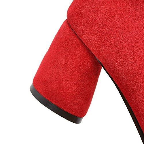 VogueZone009 Donna Punta Tonda Tirare Plastica Puro Tacco Medio Ballerine Rosso