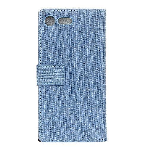 Tuch Jeans Texture Pattern Faux Leder Tasche Horizontale Flip Stand Case mit Card Slots für Sony Xperia XZ1 ( Color : Gray ) Blue