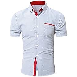 Camisas hombre Camisas de punto de onda Casual para hombres, YanHoo camisas hombre comprar camisas hombre online Casual para hombre manga larga camisa camisa del negocio (Blanco, L)