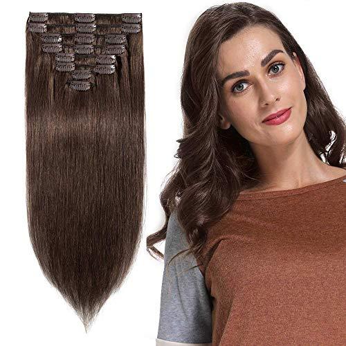 20cm-55cm extension clip capelli veri castano tessitura 100% remy human hair full head parrucca vera (50cm-105g, 4 marrone cioccolato)
