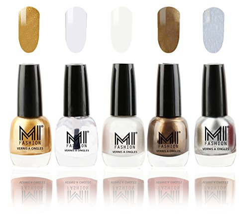 MI Fashion Super Glam Nail Polish in 5 Trendy Shades - Glazing Golden,Crystal Clear,Silky White,Metallic Coffee & Shimmery Silver - 12ml each