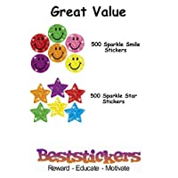 500 Sparkle Stars & 500 Sparkle Smiles Mixed Pack Teacher Reward Stickers - 10 Sheets - Ideal for reward charts