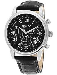 So y de Nueva York Monticello Co para hombre reloj infantil de cuarzo con esfera analógica y negro correa de piel 5059,1