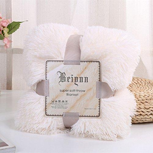 myru Plüsch Super Weiche Decke Bettwäsche Sofabezug Pelzigen Fuzzy Fur Warme Decke Quilt Gemütliche Couch Decke Für Den Winter(160 * 200cm,Weiß) (Weiß Fuzzy-decke)