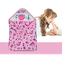 AVABY Baby Wrapper with Hood,Sleeping Bag ,Soft Cotton Blanket Quilt (Pink)