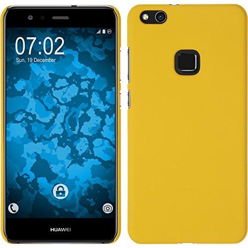 PhoneNatic Case kompatibel mit Huawei P10 Lite - Hülle gelb gummiert Hard-case + 2 Schutzfolien Gelb Hard Case
