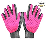 [2019 Upgrade Version] BYETOO Pet Grooming Glove-Gentle Deshedding Brush Glove-Efficient Pet Hair Remover Mitt-Massage Tool with Enhanced Five Finger Design-for Dogs & Cats with Long & Short Fur
