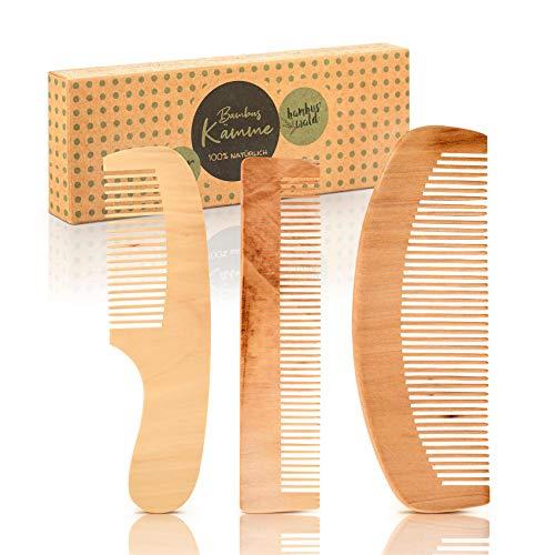 3er Set Haarkämme aus 100% Bambus - ökologisch in Handarbeit gefertigt - Kamm für Damen, Herren, Mädchen & Frauen - Holzkamm/Naturkamm für optime Haarpflege - Frisierkamm/Taschenkamm