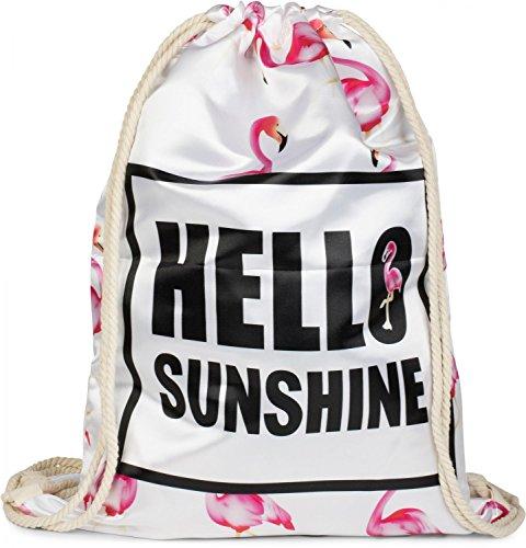 styleBREAKER Statement Turnbeutel mit 'HELLO SUNSHINE' Aufdruck und All Over Flamingo Muster, Rucksack, Sportbeutel, Beutel, Unisex 02012158, Farbe:Weiß Flamingo-muster