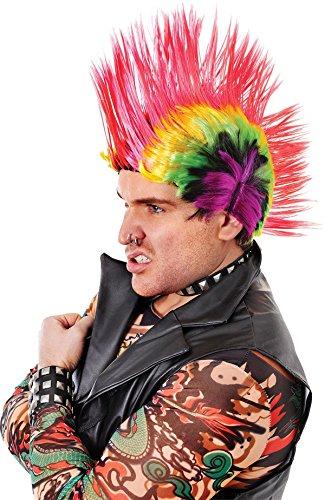 Bristol Novelties Herren Fancy Kleid Party Punk Mohawk Fake & Künstliche mohakiner Perücke blau/weiß UK (Perücke Weiß Mohawk)