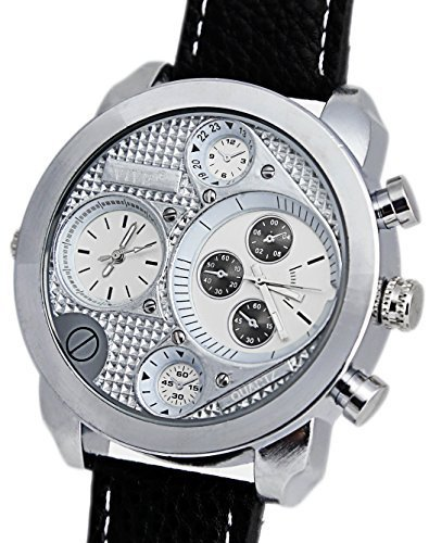 Banger Dualtime Silver Silber Line Chronograph for Men Double Temps Zwei Zonen Navigator Herrenuhr XL Atlas Modell mit 2 Uhrwerken Weltzeituhr Schwarz Silber mit Lederarmband...