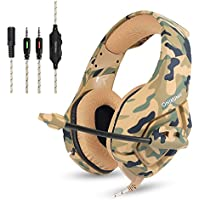 PS4 Wired Chat Headset, ONIKUMA K1-B Camouflage Stereo Gaming Headphones with Mic Clip In-line Volume Control for PlayStation 4 Xbox One Nintendo Switch PC Mac Computer Games Tablet Mobiles (Brown)