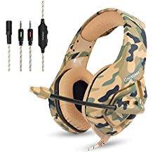 Camuflaje Auriculares Gaming Micrófono Cascos Juegos Estéreo para PS4 / Xbox One / PC / Mac / iPad / Móvil, Enchufe simple de 3,5 mm + cable corto para DualShock 4 Mando Inalámbrico - Marrón