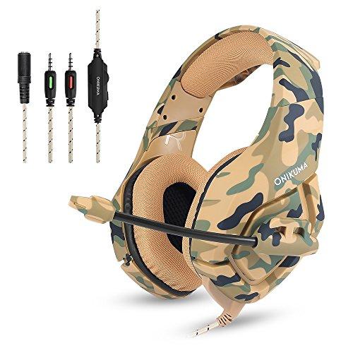 Cuffie gaming camuffamento onikuma auricolare da gioco microfono gamer confortevole stereo basso isolamento rumore di controllo del volume per ps4, xbox one, pc, portatili, tablet e telefono (marrone)
