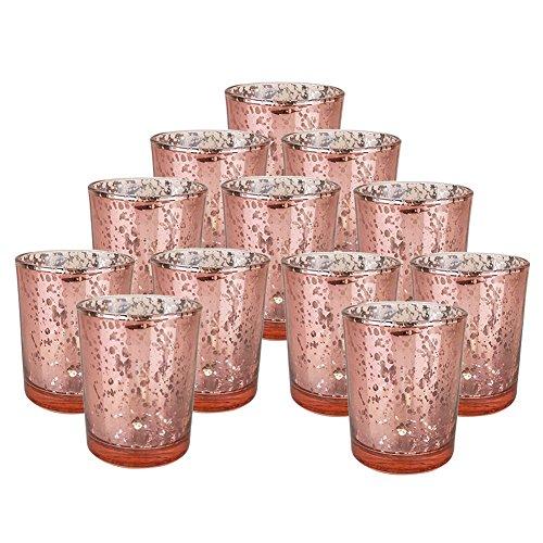 Yiwa Glas Kerzenhalter Glas Crystal-Like Romantische Leuchter Teelicht Kerze Cup für Home Hochzeit Party Dekoration, Rose Gold 12pcs (Bulk Kerzenhalter Teelicht)