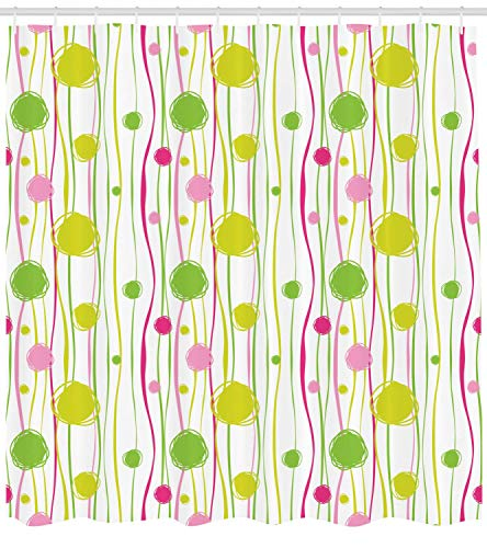 Shower Curtain, Doodle Style Random Wavy Stripes with Big Small Spots Kids Art Theme, Cloth Fabric Bathroom Decor Set with Hooks, 60W X 72L Inche, Green Pink White ()