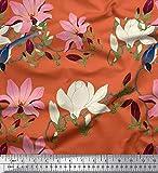Soimoi Orange modaler Satin Stoff Blätter & Blumen