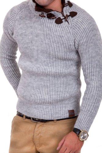 Tazzio Strickpullover mit Zipper Pullover 3915 Grau