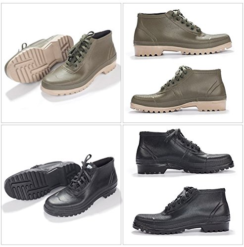 Pjucs Bottes de Pluie Boots à Lacets Montants Unisexe pour Adultes en Caoutchouc Naturel 37-46 vert olive