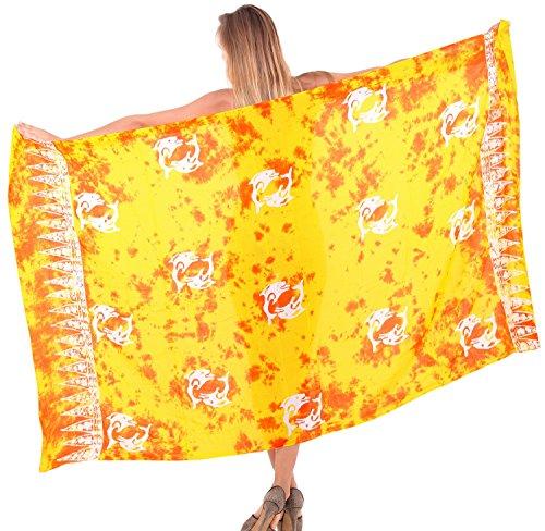 La Leela morbido dolce rayon ibisco fila floreale swim coprire sarong 78x43 pollici D'Oro