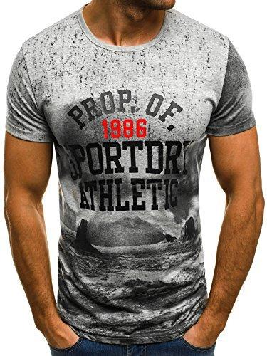 OZONEE Mix Herren T-Shirt Aufdruck mit Motiv Kurzarm Rundhals Figurbetont JS/SS365 GRAU L
