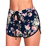 WINWINTOM Damen Rock Sommer Blumen Druck High Waist Loose Hosen Shorts Elegente Freizeit Shorts Damenhosen Strandshorts Sommershorts Modische Hohe Taille Kurz Hose Hotpants (XL, Marine)