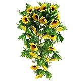EWEFWFYT Schöne künstliche Sonnenblumen-Girlande-dekorative Wand-Blumen-Girlande hängende Sonnenblumen-Rebe-Wand-Blumen-Rebe
