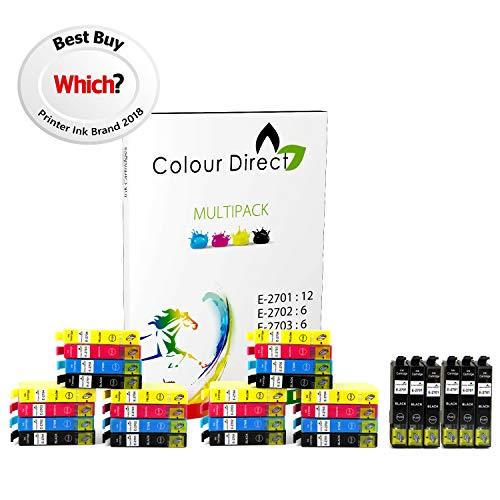 6 Impostatos + 6 Nero (30 Inchiostro ) 27XL Colour Direct Compatibile Cartucce d'inchiostro Sostituzione Per Epson WorkForce WF-3620DWF WF-3640DTWF WF-7110DTW WF-7610DWF WF-7620DTWF Stampanti .