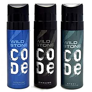 Wild Stone Code Chrome, Steel and Titanium Body Perfume Combo for Men, 120ml each (Pack of 3)