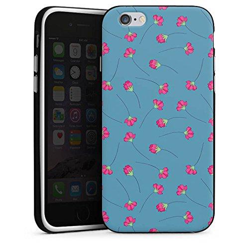 Apple iPhone 4 Housse Étui Silicone Coque Protection Fleurs Fleurs Bleu Housse en silicone noir / blanc