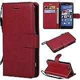 BoxTii Sony Xperia Z3 Compact Hülle, Wallet Etui Einfarbig PU Flexible Leder Wallet Anti-Scratch Schutz Hülle mit Frei Panzerglas Displayschutzfolie für Sony Xperia Z3 Compact (Rot)