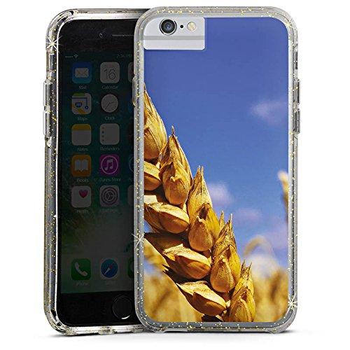Apple iPhone 6s Bumper Hülle Bumper Case Glitzer Hülle Landschaft Kornfeld Korn Bumper Case Glitzer gold