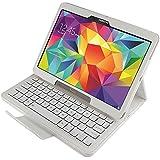 Mobile24 Funda & Teclado Bluetooth para Samsung Galaxy Tab S 10.5, Galaxy Tab S 10.5 LTE, Cover, Bookstyle Book Case, Carcasa con función de Soporte - Diseño EE.UU. - QWERTY - Blanco
