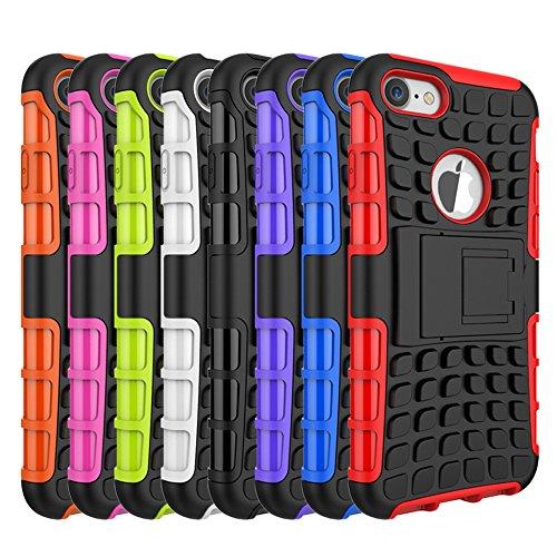 MOONCASE iPhone 7 Coque, 2 en 1 Combo Housse Hybride Etui Robuste Protection de Double Couche d'Armure Lourde Case avec Béquille pour Apple iPhone 7 Violet Noir