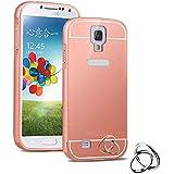 Semoss Premium Espejo Funda Aluminio Carcasa Case para Samsung Galaxy S4 i9500 i9505 Ultra Thin Mirror Efecto Metal Bumper Hardcase Shell Cover - Rose