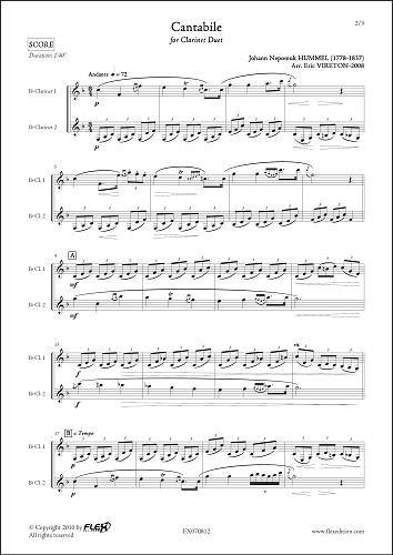 PARTITION CLASSIQUE - Cantabile - J.N. HUMMEL - Du...