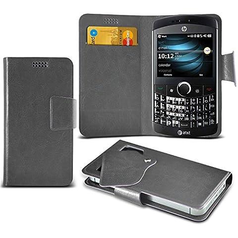 (Grey) HP iPAQ Glisten Caso fino estupendo Faux Leather succión Pad Monedero piel de la cubierta con el crédito / débito ranuras para tarjetasBy