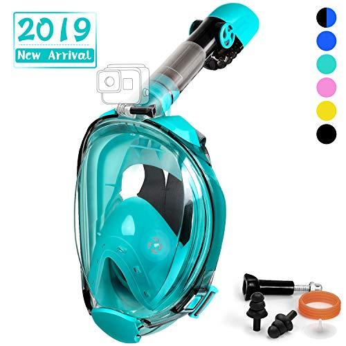 OUSPT Tauchmaske, Faltbare Schnorchelmaske Vollmaske mit 180° Sichtfeld, Tauchen Vollgesichtsmaske mit Abnehmbarer Kamerahalterung und Ohrenstöpsel, Anti-Fog Anti-Leck, für Kinder Erwachsene